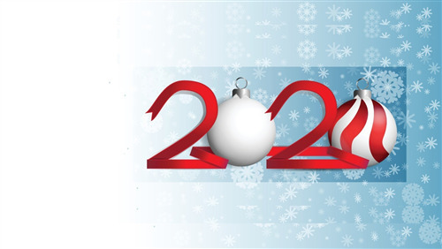 New Year 2020 with Christmas Red Ball