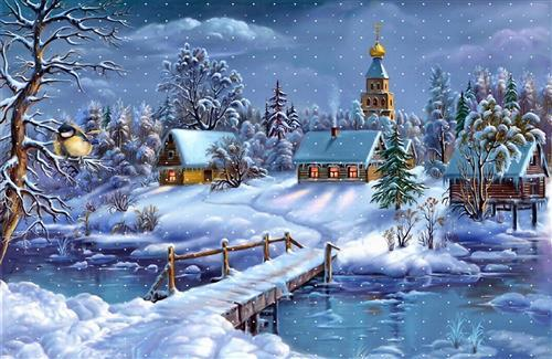 Snowy Christmas Night on Holiday Images