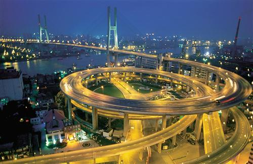 Night Look of Nanpu Bridge and Spiral Road in Country China