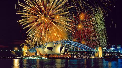 Sydney City New Year Celebrations HD Wallpaper