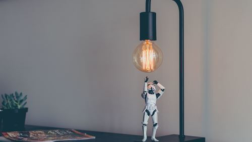 Robo Toy and Desk Lamp Creative 5K Wallpapers