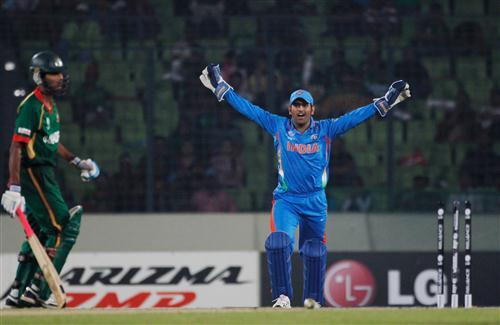 MS Dhoni Celebrating after Wining Agains Bangladesh Cricket Wallpaper