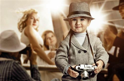 Beautiful Baby Boy with Camera HD Photos