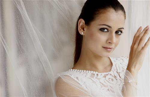 Dia Mirza with White Net Background
