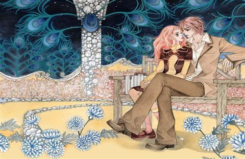 Cute Romantic Couple Sitting on Bench Drawing Photo
