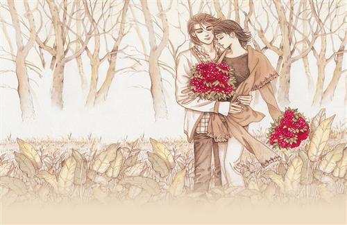 Romantic Couple Drawing With Red Flower Wallpaper
