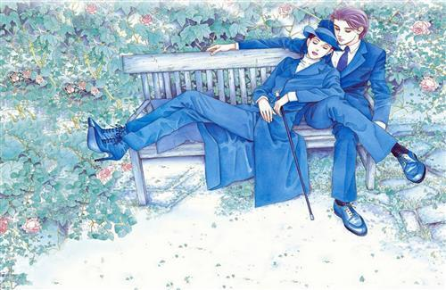 Romantic Couple in Blue Drawing Free Wallpapers