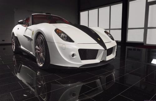 Front View of White Ferrari Mansory