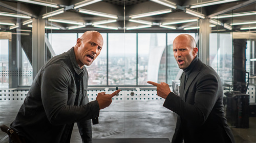 Fast and Furious Presents Movie Actor Dwayne Johnson as Hobbs and Jason Statham as Shaw