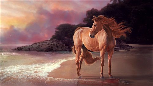 Painting of Brown Horse Near Beach