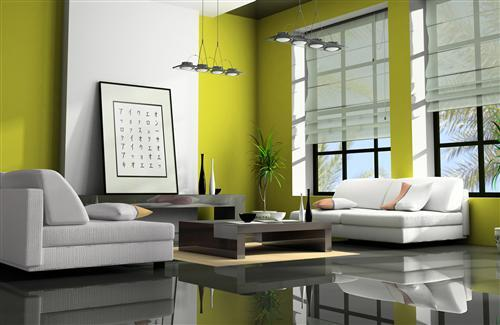 Green and White Theme of Home Interior