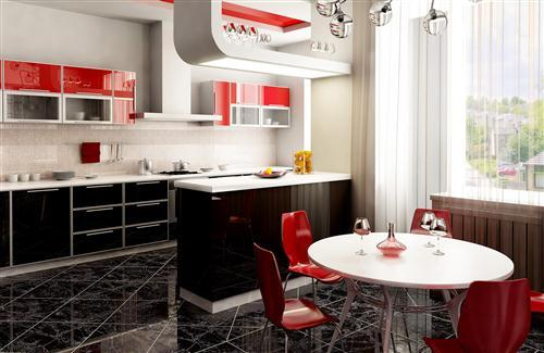 Nice Beautiful Red and White Them Kitchen Interior Furniture Photo