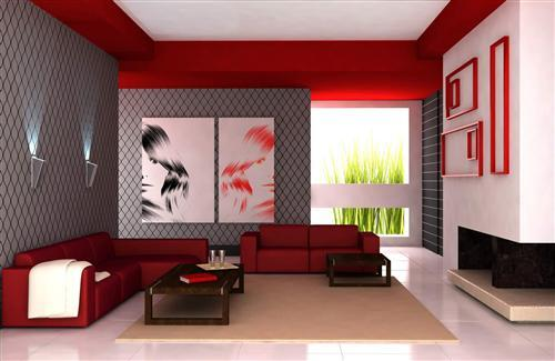Red interior design decorating room hd wallpapers for Normal home interior design
