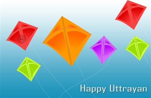 Colorful Kites in Makar Sankranti Festival Wallpapers