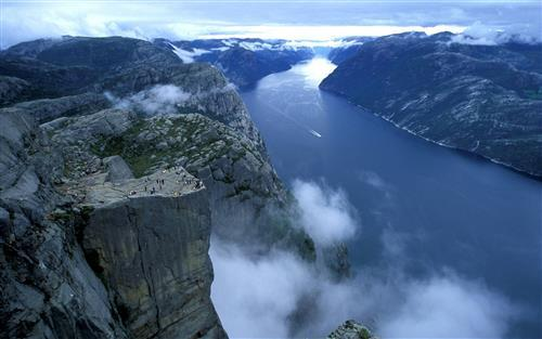Beautiful Preikestolen Cliff in Norway Wallpaper