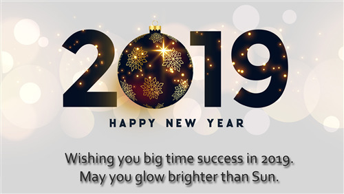 2019 Happy New Year Greeting Message 4K Wallpaper