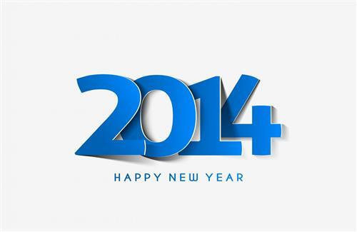 Amazing 2014 Blue Color Happy New Year Wallpaper