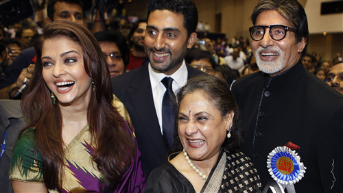 Amitabh and Abhishek Bachchan with Her Spouse Aishwarya and Jaya Bachchan