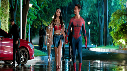 Tiger Shroff as Superhero Spider Man with Actress Wonder Woman in 2019 Film Student of the Year 2