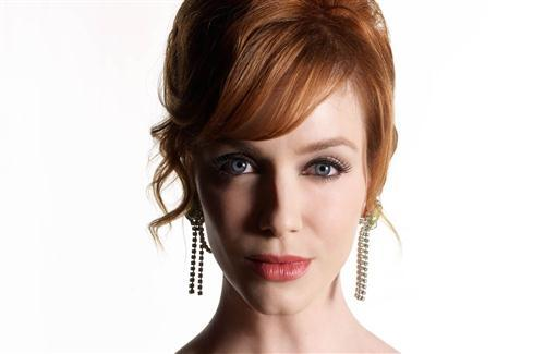 Beautiful Christina Hendricks With Long Ear Jewellery Wallpaper