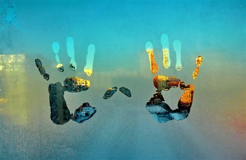 Hand Print on Glass Background Photo