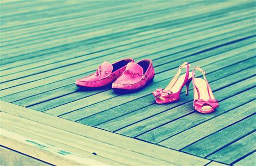 Ladies and Mens Pink Shoes Pair