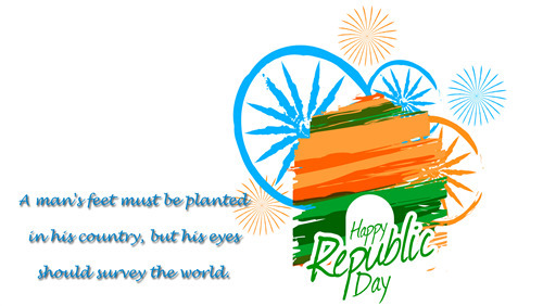 Happy Republic Day of India Greeting Message Wallpaper