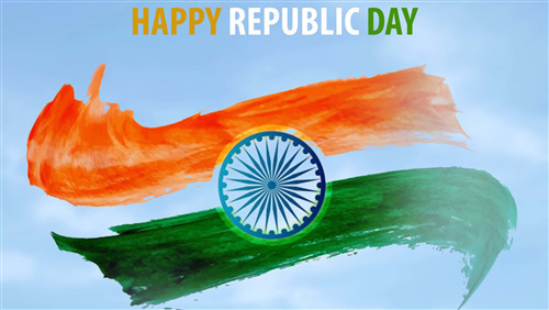 Indian Flag with Happy Republic Day 4K Wallpaper