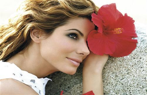 Actress Sandra Bullock with Flower