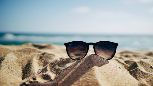 Black Sunglasses in Sand Beach Summer Photography Pics