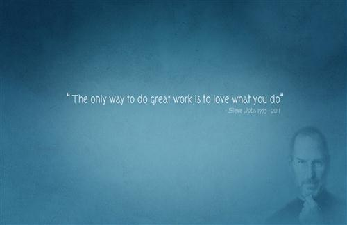 Best Thoughts on Love Your Work Motivation Quote of Steve Jobs Photo