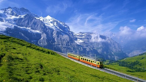 Beautiful Train Nature View in Switzerland HD Photos