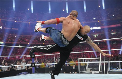Rock and John Cena Fight in Popular American Figting Show WWE HD Photos