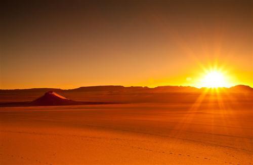Sunset Scene Of Desert Photo