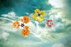 3D Flowers in Sky Wallpaper