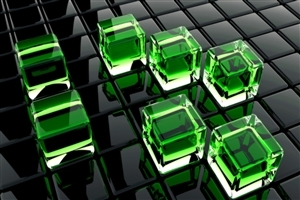 3D Green Cubes HD Wallpaper Background