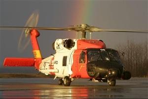 Red and White Big Helicopter High Quality Image