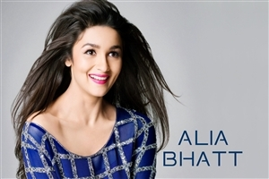 Alia Bhatt Beautiful Actress in Blue Dress Wallpaper