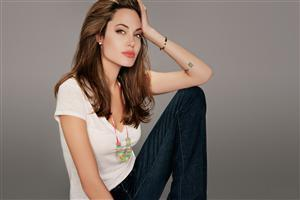 Angelina Jolie in Jeans Top