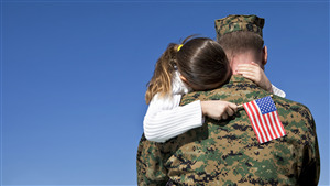 American Soldier Hug His Daughter