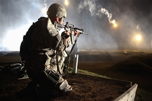 Army Soldier Petroling at Night Photo