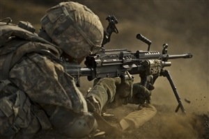 Army with Machine Gun Wallpaper