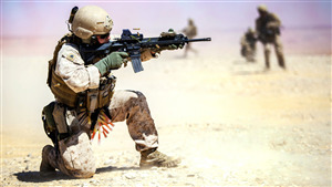 Military Soldier Shoot with Gun in Deserts 5K Wallpaper