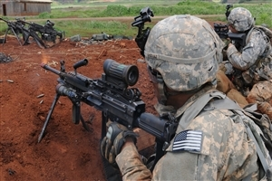 USA Army Soldiers on War with Machine Gun HD Wallpapers
