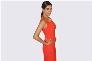 Asin Thottumkal in Orange Dress Background Wallpaper