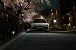 Audi Car with Headlight On Photo
