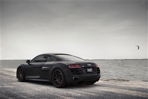 Black Audi on Beach Wallpaper