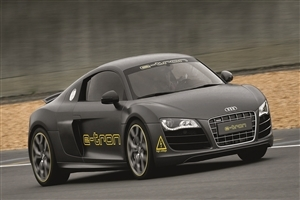 New Latest Model of Audi R8 e tron Gray Car on Road Way Wallpapers