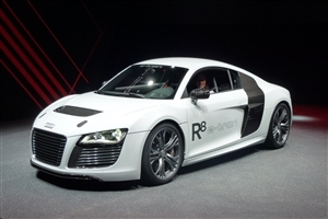 New Latest White Audi R8 e tron in Launch Seminar Wallpapers
