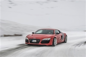 Red Audi R8 e tron 2013 Concept Car on Road Super Photos